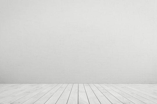 Empty room white wall, white wood floor