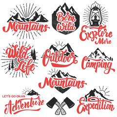 hiking, mountain exploration emblems. Handwritten lettering logo, label, badge. Isolated on white background. Vector illustration.