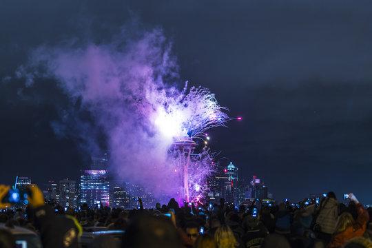 Seattle,Washington,usa,2017/01/01: New year fireworks over Seattle cityscape,celebrate,2017.