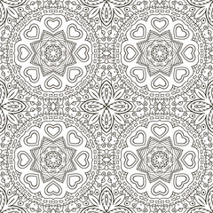 Seamless doodle pattern. Ethnic motives. Zentagl Coloring
