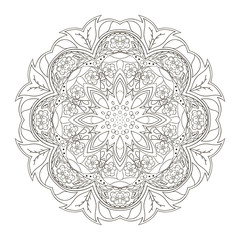 Mandala. Oriental pattern. Traditional round ornament. Turkey, Egypt, Islam. Doodle drawing coloring. Relaxing picture