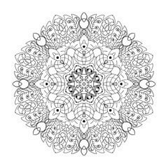 Oriental pattern. Traditional round ornament. Mandala. Doodle drawing. Coloring