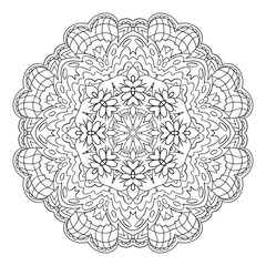 Traditional round coloring ornament. Oriental pattern. Mandala. Doodle drawing