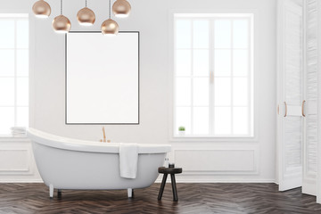 Gray bathroom interior with poster, front
