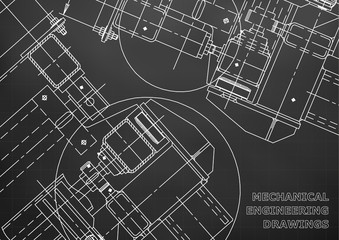 Blueprints. Mechanics. Cover. Mechanical Engineering drawing. Engineering design. Black. Grid
