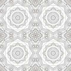Seamless coloring Mandala. Seamless oriental pattern. Doodle drawing. Hand drawing. Yoga, relaxation, floral motifs