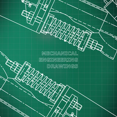 Mechanical engineering the drawing. Technical illustrations. The drawing for technical design. A cover, a banner. A place for an inscription. Light green. Grid
