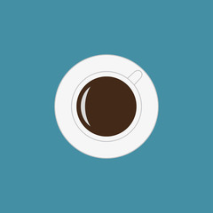 Cup of coffee icon in flat style. Top view. Vector illustration.