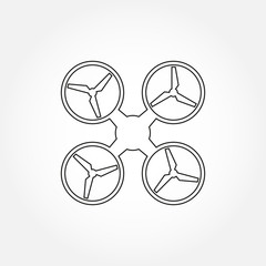 Drone line icon. Copter or quadrocopter outline silhouette. Vector illustration.