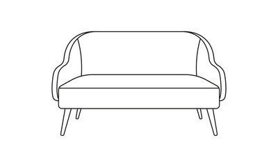 Sofa or armchair line icon. Furniture for living room. Vector illustration.
