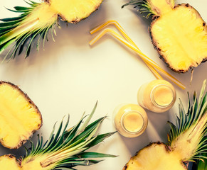 Pineapple smoothies or juice background
