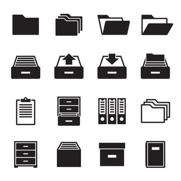 Archive, document icons set