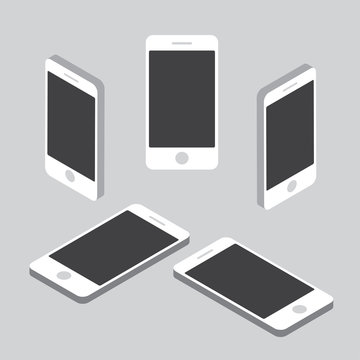 Simple flat isometric phone set