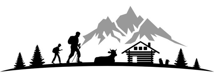 Silhouette Wanderer Hütte Wall mural