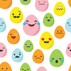 Seamless background with Eggs emotions. Vector illustration.