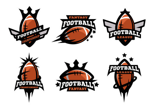 American football set of logos.