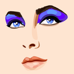 Face of beautiful woman with bright make-up. Full face view. Vector Illustration