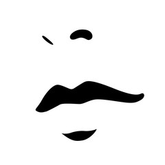 Woman face icon. Female face with big sensual lips and beautiful nose. Vector Illustration