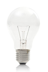 Standard Light Bulb against White with Reflection