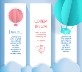 Paper art of balloons,  paper art idea, vector art and illustration. Balloons with clouds and banner for your text. Concept of freedom and sommer day, origami made hot air balloon flying on blue sky.