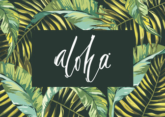 Tropical leafs composition background. Flat shapes hand drawn. Green on black with bird of plumeria flowers. Word- aloha. EPS 10