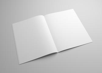 Blank brochure magazine 3D illustration on grey for your design.