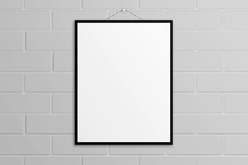 White 3D illustration poster mock-up with black frame brick wall