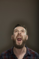 Scream! Bearded man yelling looking above at the copyspace on grey background.