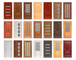 Set of wooden doors isolated on white background.