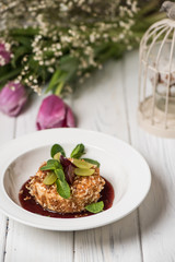 Camembert cheese with berry sauce