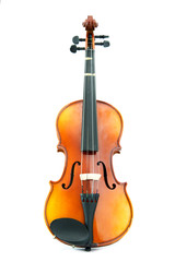 aged handmade violin on white background
