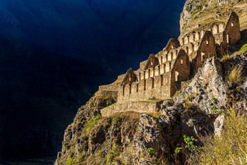Pinkuylluna, ruins of ancient Inca storehouses located on mountains, Sacred Valley, Ollantaytambo, Peru