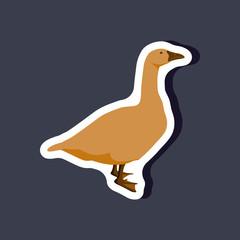 goose paper sticker on stylish background