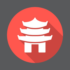 Pagoda flat icon. Round colorful button, circular vector sign with long shadow effect. Flat style design