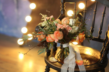 Bridal bouquet on a beautiful chair