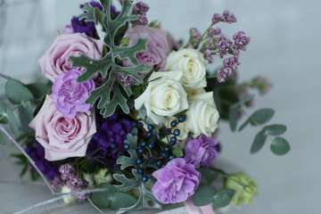 Bridal bouquet in white interior