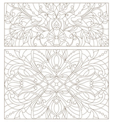 Set contour illustrations of stained glass with abstract swirls , flowers and birds horizontal orientation