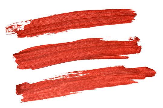 Set of red acryl brush strokes