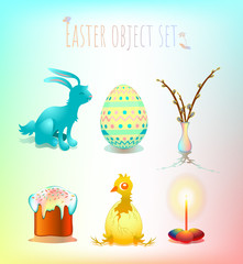 Colorful set of Easter symbols and templates in pastel: blue rabbit, painted egg, rainbow colored vase with willow branches, traditional easter cake, hatched chicken, bright lit candle with eggs.