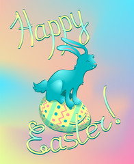 Colorful Easter greeting card in pastel colours. Symbols of Easter - blue rabbit on painted colorful egg. Rainbow coloured Easter postcard with happy rabbit.