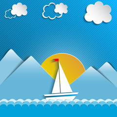 Sailing boat and clouds