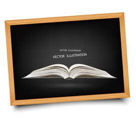 Open book on blackboard.