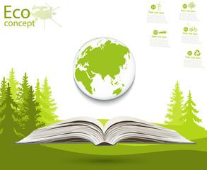 Globe on opened book.
