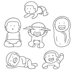vector set of baby
