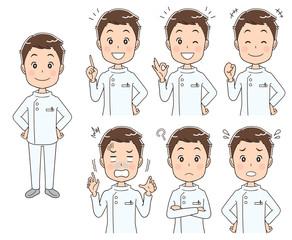 男性看護師のイラスト(セット 全身)