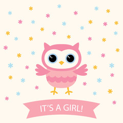 Baby girl arrival card with a cute cartoon owl