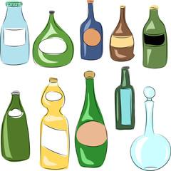 bottle. sketch. set.