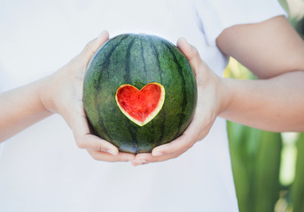 watermelon with heart shape
