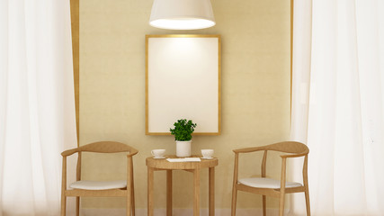 Coffee break with frame and pendent lamp -3D Rendering