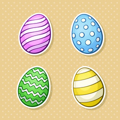 Vector illustration. Set of stickers of Easter eggs. Sticker in cartoon style with contour. Decoration for greeting cards, patches, prints for clothes, badges, posters, emblems
